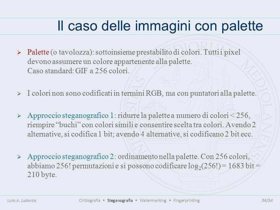 Il caso delle immagini con palette Luca A. Ludovico Crittografia Steganografia Watermarking Fingerprinting34/54 Palette (o tavolozza): sottoinsieme pr