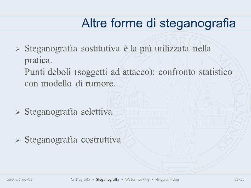 Altre forme di steganografia Luca A. Ludovico Crittografia Steganografia Watermarking Fingerprinting35/54 Steganografia sostitutiva è la più utilizzat