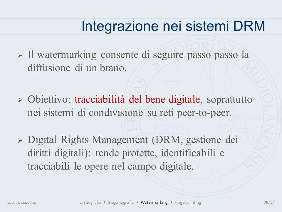 Integrazione nei sistemi DRM Luca A. Ludovico Crittografia Steganografia Watermarking Fingerprinting38/54 Il watermarking consente di seguire passo pa