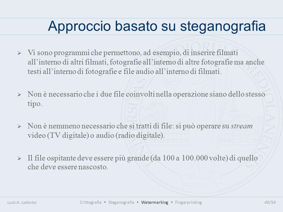 Approccio basato su steganografia Luca A. Ludovico Crittografia Steganografia Watermarking Fingerprinting40/54 Vi sono programmi che permettono, ad es