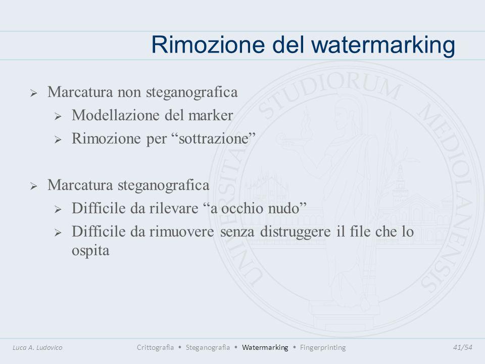 Rimozione del watermarking Luca A. Ludovico Crittografia Steganografia Watermarking Fingerprinting41/54 Marcatura non steganografica Modellazione del