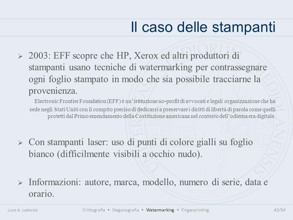 Il caso delle stampanti Luca A. Ludovico Crittografia Steganografia Watermarking Fingerprinting43/54 2003: EFF scopre che HP, Xerox ed altri produttor