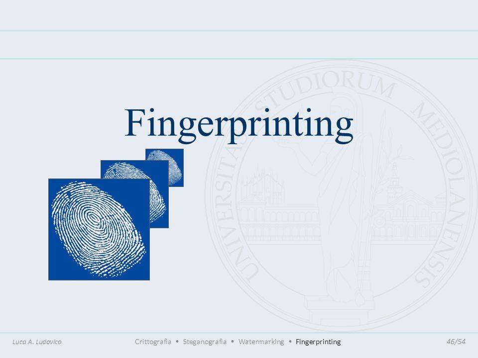 Fingerprinting Luca A. Ludovico Crittografia Steganografia Watermarking Fingerprinting46/54