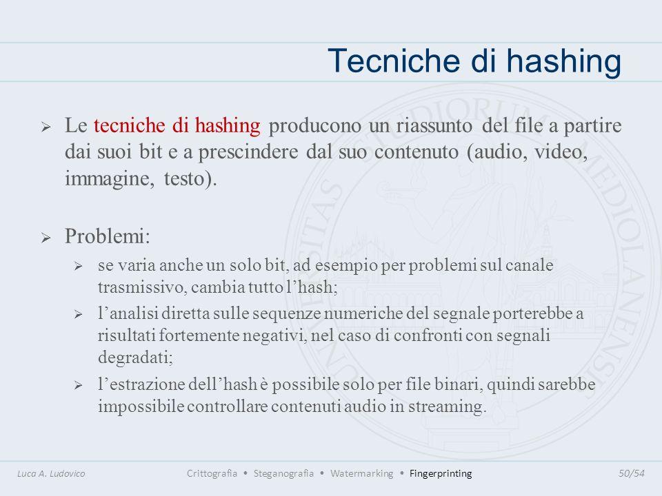Tecniche di hashing Luca A. Ludovico Crittografia Steganografia Watermarking Fingerprinting50/54 Le tecniche di hashing producono un riassunto del fil
