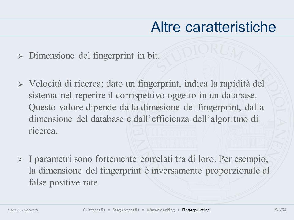 Altre caratteristiche Luca A. Ludovico Crittografia Steganografia Watermarking Fingerprinting54/54 Dimensione del fingerprint in bit. Velocità di rice