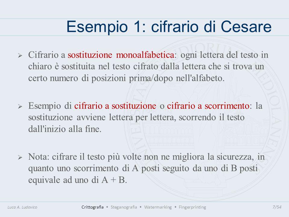 Esempio 1: cifrario di Cesare Il cifrario di Cesare utilizzava uno spostamento di 3 posizioni in avanti (la chiave è dunque +3) Esempio di cifratura: de bello gallico gh ehoor ldoonfr Luca A.