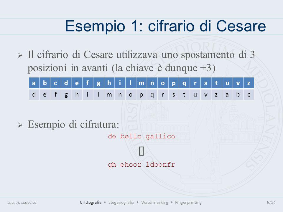 Esempio 1: cifrario di Cesare Come rompere la cifratura: usando diagramma delle frequenze delle lettere nel testo in cifra e nella lingua originale del testo, è facile individuare il valore della chiave osservandone la disposizione.