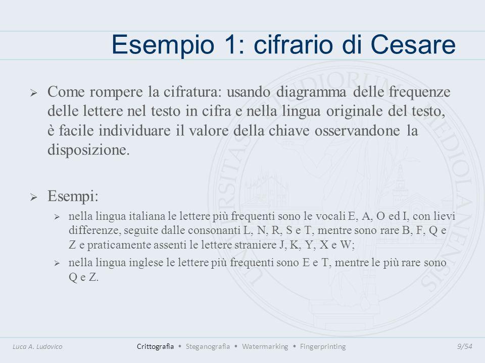 Esempio 1: cifrario di Cesare Come rompere la cifratura: usando diagramma delle frequenze delle lettere nel testo in cifra e nella lingua originale de