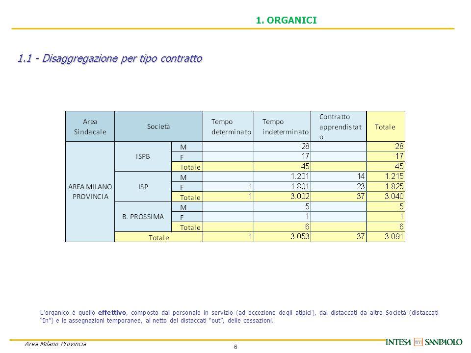 6 Area Milano Provincia 1.1 - Disaggregazione per tipo contratto 1.