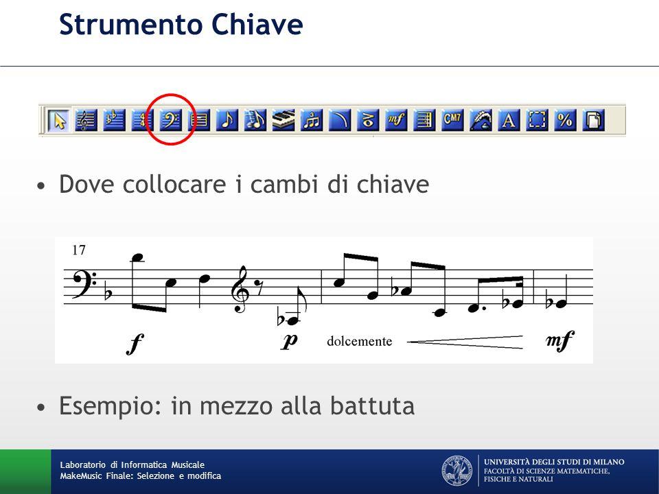 Laboratorio di Informatica Musicale MakeMusic Finale: Selezione e modifica Strumento Chiave Dove collocare i cambi di chiave Esempio: in mezzo alla ba