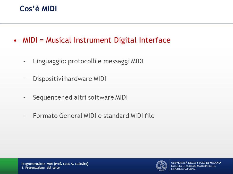 Cosè MIDI MIDI = Musical Instrument Digital Interface –Linguaggio: protocolli e messaggi MIDI –Dispositivi hardware MIDI –Sequencer ed altri software