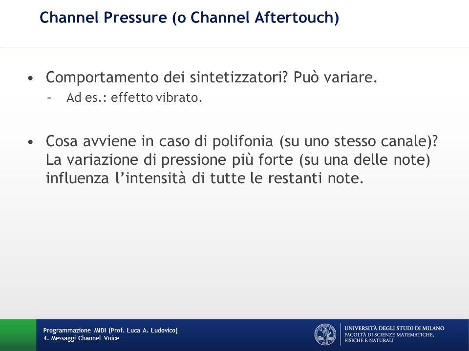 Channel Pressure (o Channel Aftertouch) Programmazione MIDI (Prof.