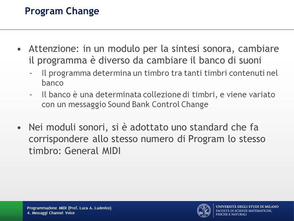 Program Change Programmazione MIDI (Prof.Luca A. Ludovico) 4.