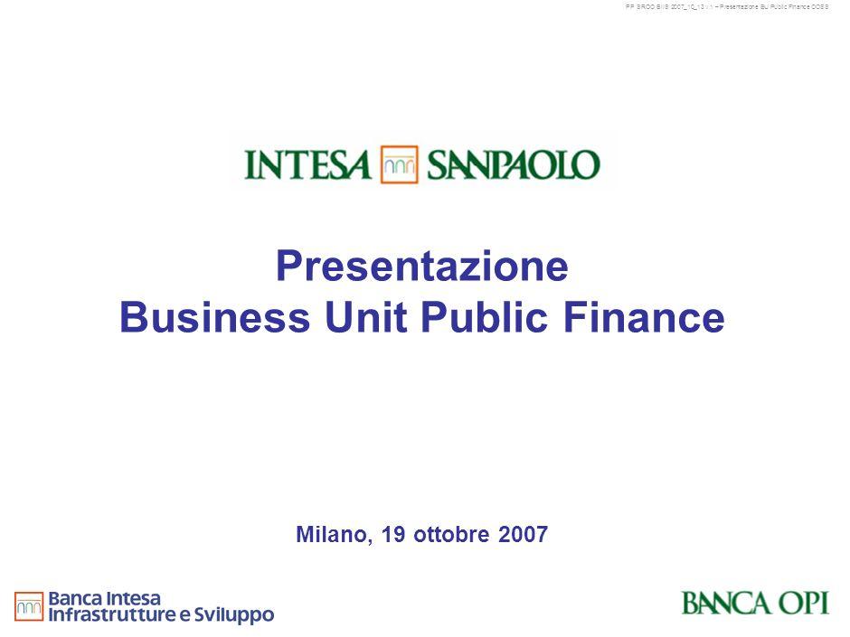 PP SROO BIIS 2007_10_13 v.1 – Presentazione BU Public Finance OOSS 10 Contenuti 1 Missione e modello di business della BU Public Finance 4 Progetto di integrazione BIIS Banca OPI 2 Principali azioni e obiettivi della B.U.