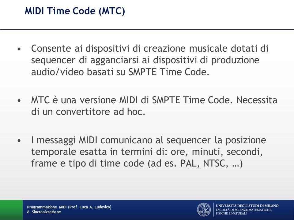 MIDI Time Code (MTC) Consente ai dispositivi di creazione musicale dotati di sequencer di agganciarsi ai dispositivi di produzione audio/video basati