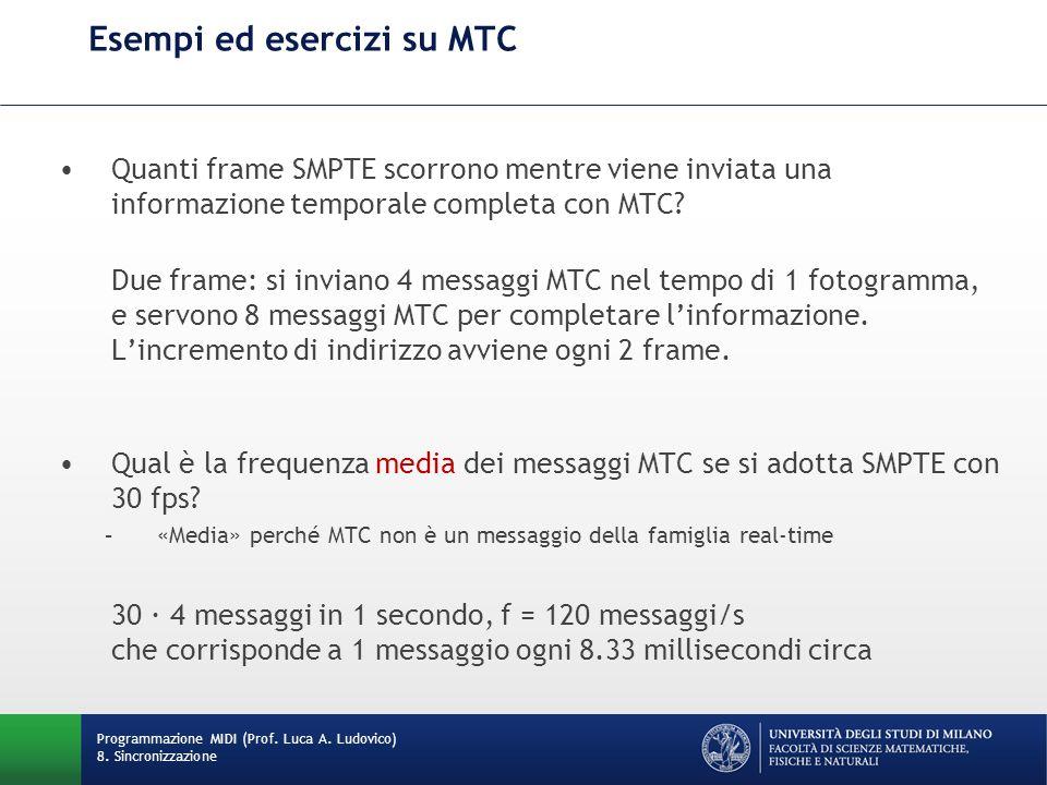 Esempi ed esercizi su MTC Quanti frame SMPTE scorrono mentre viene inviata una informazione temporale completa con MTC? Due frame: si inviano 4 messag