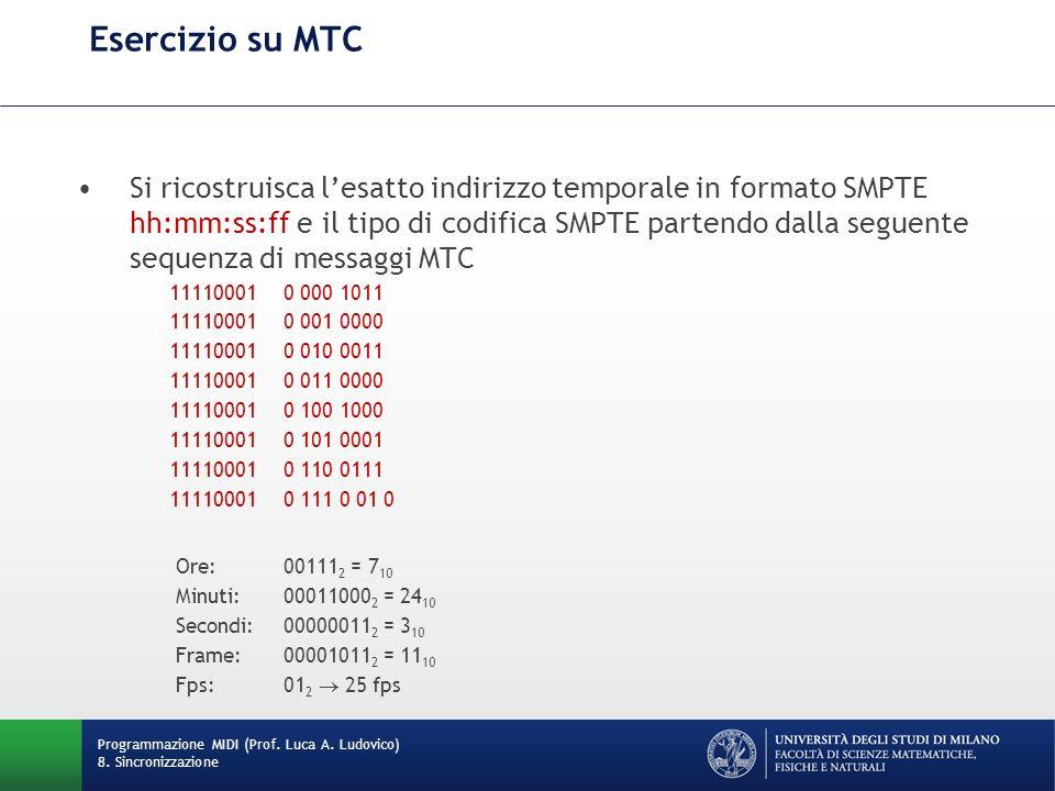 Esercizio su MTC Programmazione MIDI (Prof. Luca A. Ludovico) 8. Sincronizzazione Si ricostruisca lesatto indirizzo temporale in formato SMPTE hh:mm:s