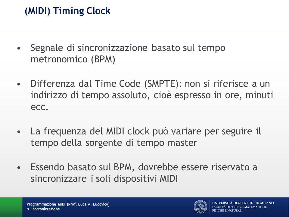 (MIDI) Timing Clock Segnale di sincronizzazione basato sul tempo metronomico (BPM) Differenza dal Time Code (SMPTE): non si riferisce a un indirizzo d
