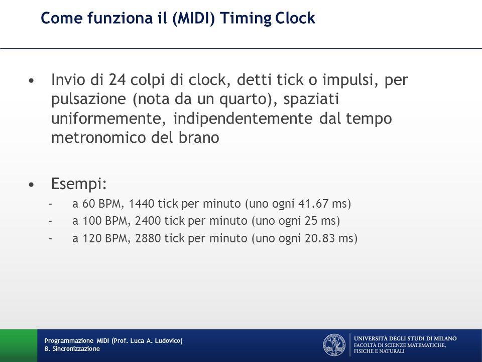 Come funziona il (MIDI) Timing Clock Invio di 24 colpi di clock, detti tick o impulsi, per pulsazione (nota da un quarto), spaziati uniformemente, ind