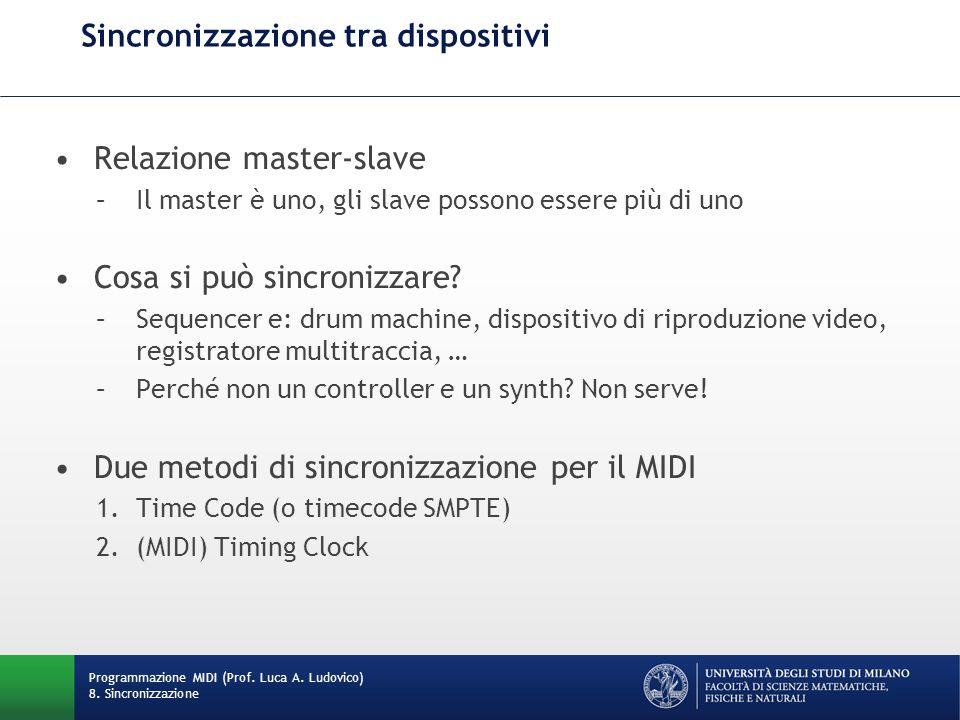 Sincronizzazione tra dispositivi Relazione master-slave –Il master è uno, gli slave possono essere più di uno Cosa si può sincronizzare? –Sequencer e: