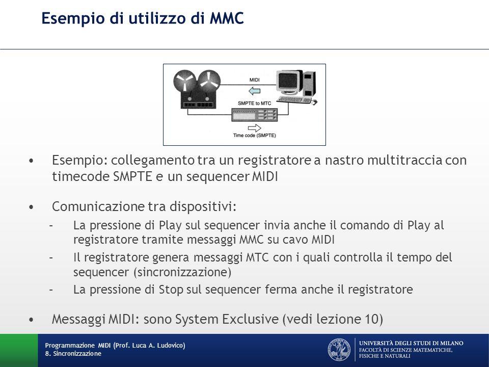 Esempio di utilizzo di MMC Programmazione MIDI (Prof. Luca A. Ludovico) 8. Sincronizzazione Esempio: collegamento tra un registratore a nastro multitr