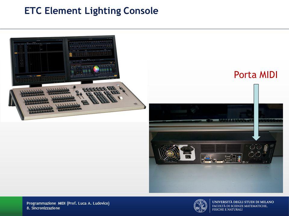ETC Element Lighting Console Programmazione MIDI (Prof. Luca A. Ludovico) 8. Sincronizzazione Porta MIDI