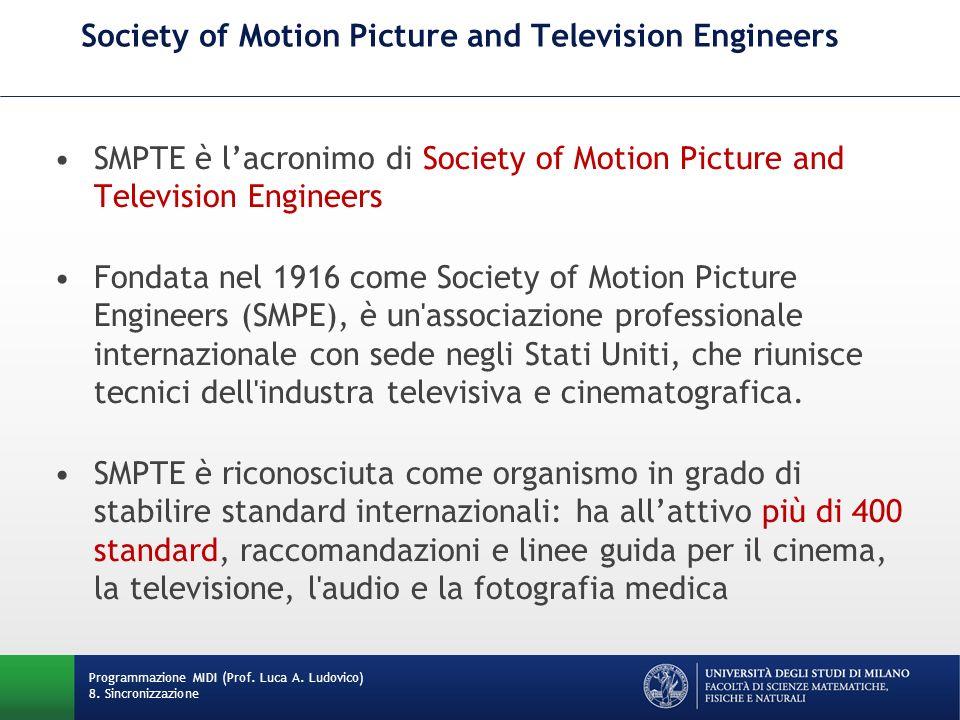 Time Code (o timecode SMPTE) Il Time Code (o timecode SMPTE) è un insieme di standard cooperativi per l identificazione univoca di fotogrammi video o su pellicola cinematografica con un timecode, standard definito dalla SMPTE nella specifica 12M.