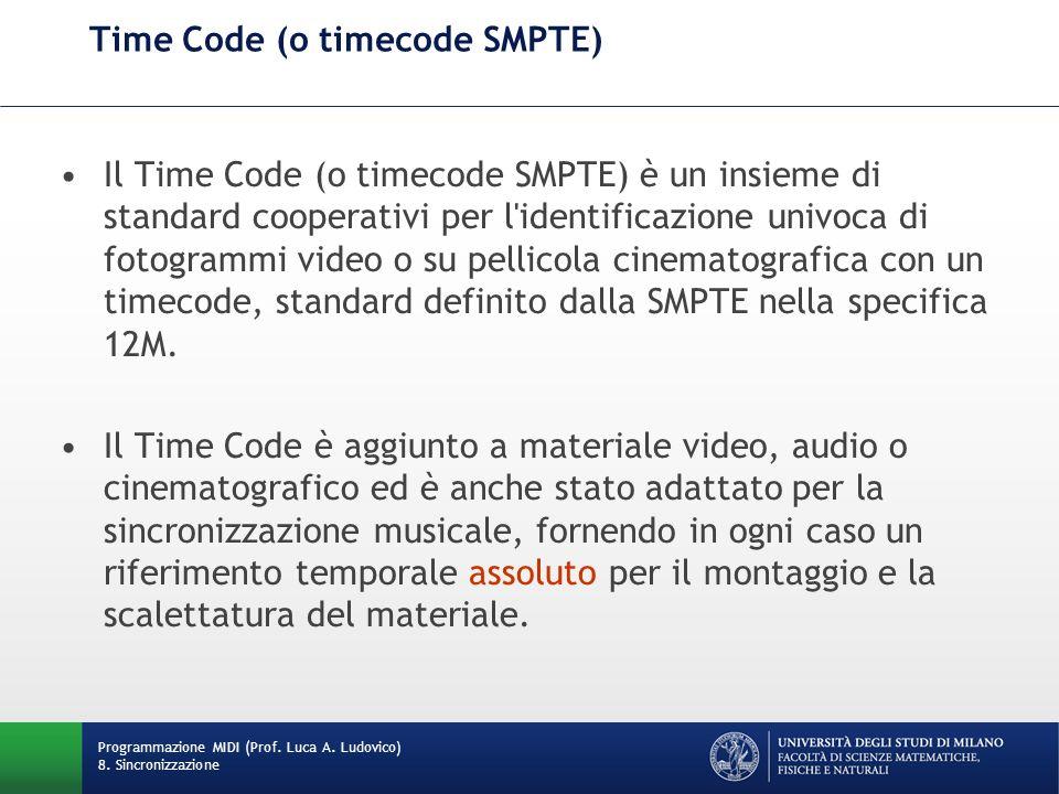 Time Code (o timecode SMPTE) Il Time Code (o timecode SMPTE) è un insieme di standard cooperativi per l'identificazione univoca di fotogrammi video o