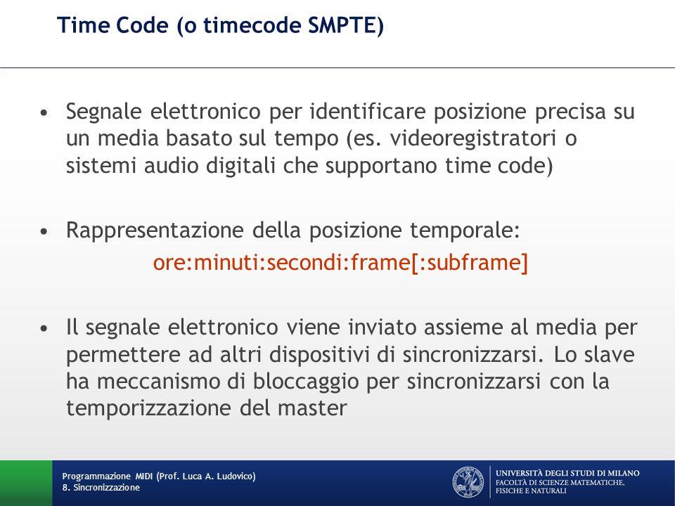 Time Code (o timecode SMPTE) Segnale elettronico per identificare posizione precisa su un media basato sul tempo (es. videoregistratori o sistemi audi