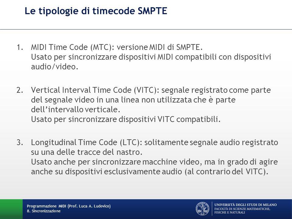Come funziona il (MIDI) Timing Clock Invio di 24 colpi di clock, detti tick o impulsi, per pulsazione (nota da un quarto), spaziati uniformemente, indipendentemente dal tempo metronomico del brano Esempi: –a 60 BPM, 1440 tick per minuto (uno ogni 41.67 ms) –a 100 BPM, 2400 tick per minuto (uno ogni 25 ms) –a 120 BPM, 2880 tick per minuto (uno ogni 20.83 ms) Programmazione MIDI (Prof.