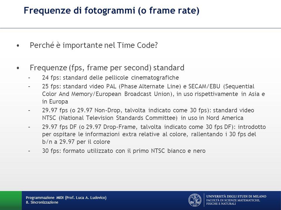 Frequenze di fotogrammi (o frame rate) Perché è importante nel Time Code? Frequenze (fps, frame per second) standard –24 fps: standard delle pellicole