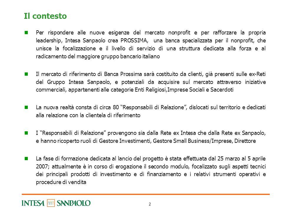2 Il contesto Per rispondere alle nuove esigenze del mercato nonprofit e per rafforzare la propria leadership, Intesa Sanpaolo crea PROSSIMA, una banc