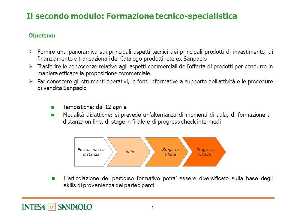 8 Il secondo modulo: Formazione tecnico-specialistica Obiettivi: Fornire una panoramica sui principali aspetti tecnici dei principali prodotti di inve