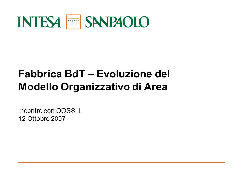 PRELIMINARE 1 Fabbrica BdT – Evoluzione del Modello Organizzativo di Area Incontro con OOSSLL 12 Ottobre 2007