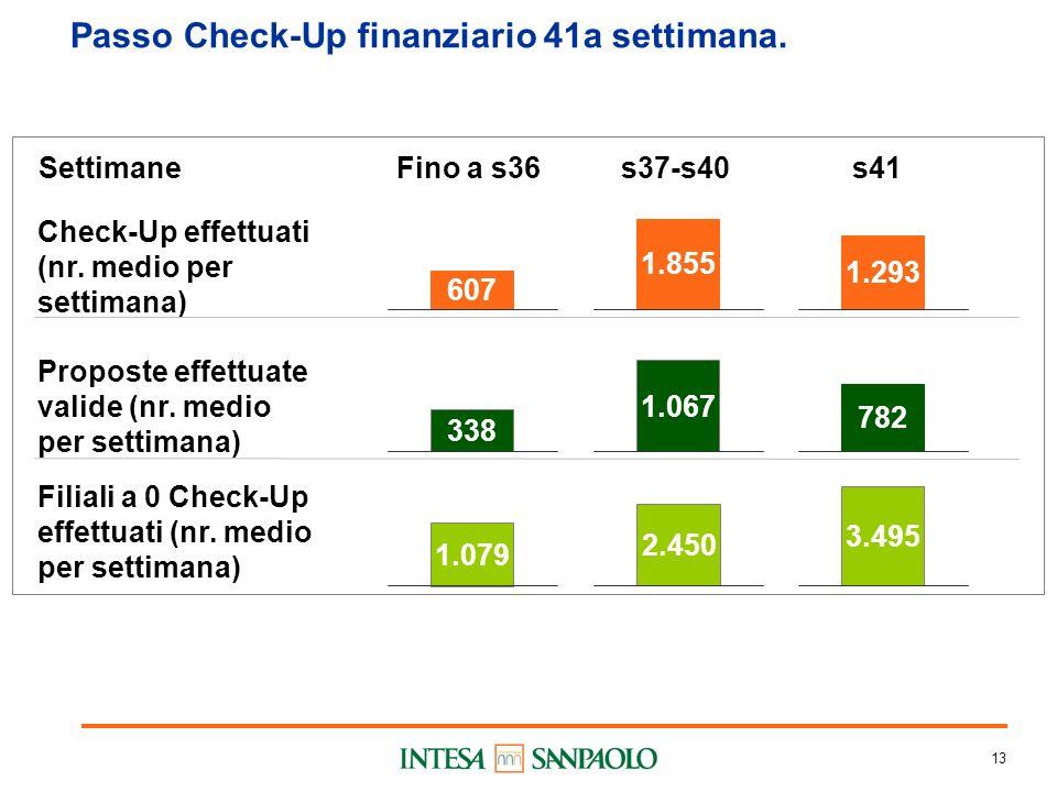 13 Passo Check-Up finanziario 41a settimana. Check-Up effettuati (nr.