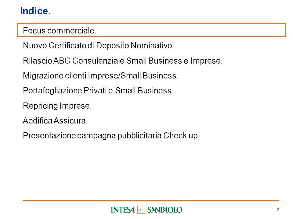 2 Indice. Focus commerciale. Nuovo Certificato di Deposito Nominativo.