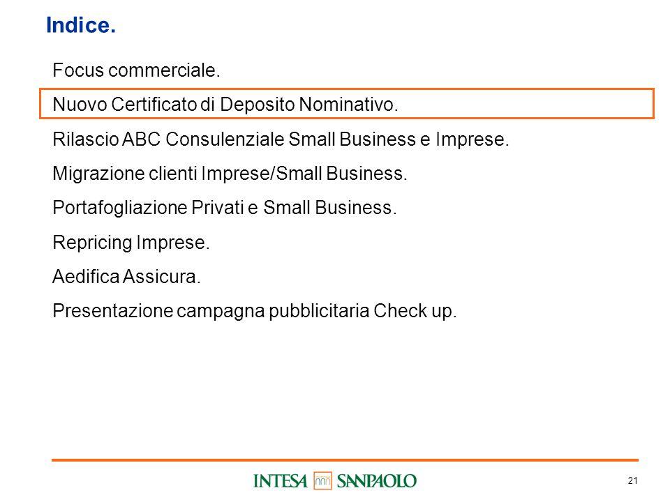 21 Indice. Focus commerciale. Nuovo Certificato di Deposito Nominativo.