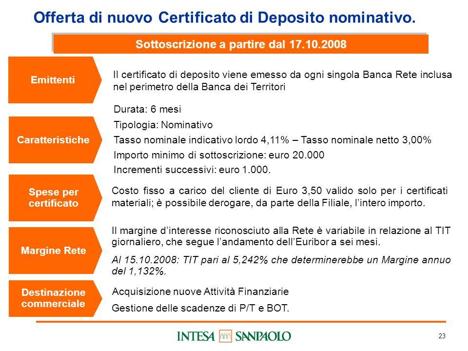 23 Durata: 6 mesi Tipologia: Nominativo Tasso nominale indicativo lordo 4,11% – Tasso nominale netto 3,00% Importo minimo di sottoscrizione: euro 20.000 Incrementi successivi: euro 1.000.