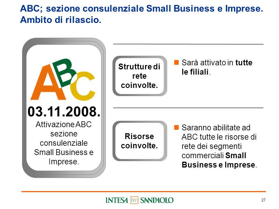 27 ABC; sezione consulenziale Small Business e Imprese.