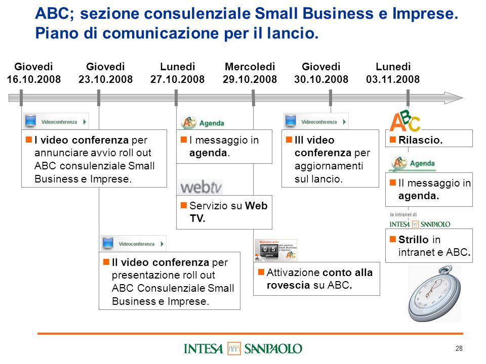 28 ABC; sezione consulenziale Small Business e Imprese.