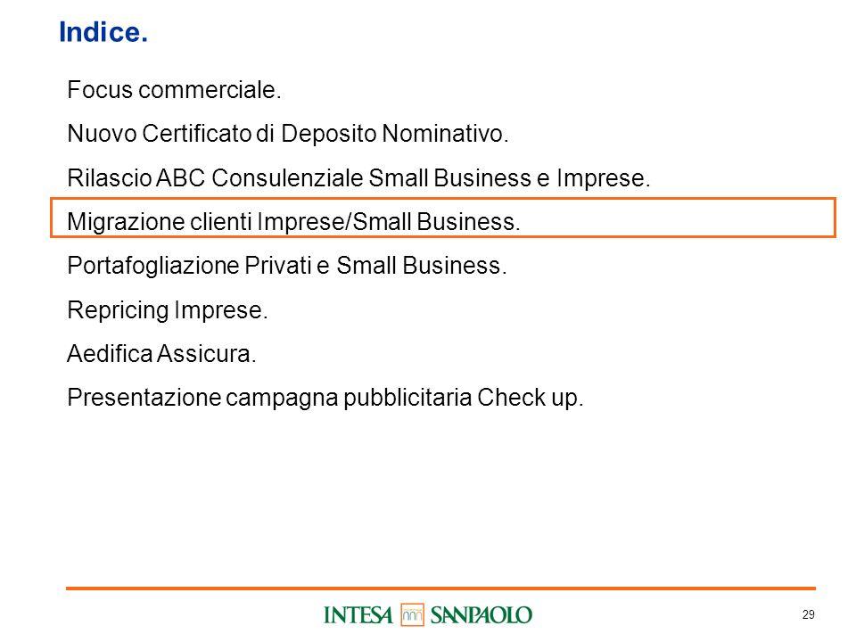 29 Indice. Focus commerciale. Nuovo Certificato di Deposito Nominativo.