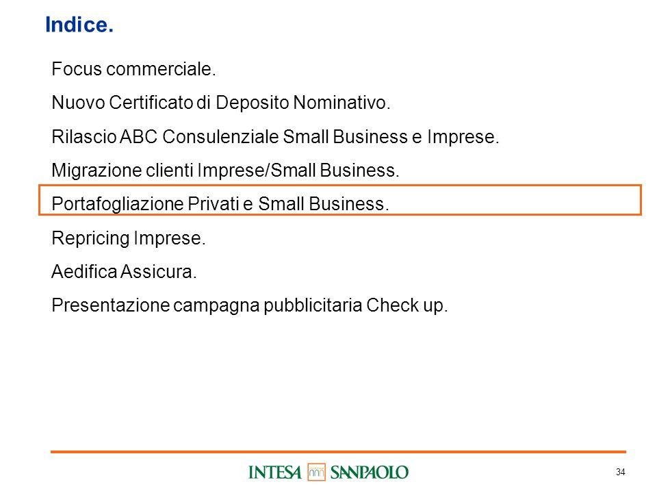 34 Indice. Focus commerciale. Nuovo Certificato di Deposito Nominativo.