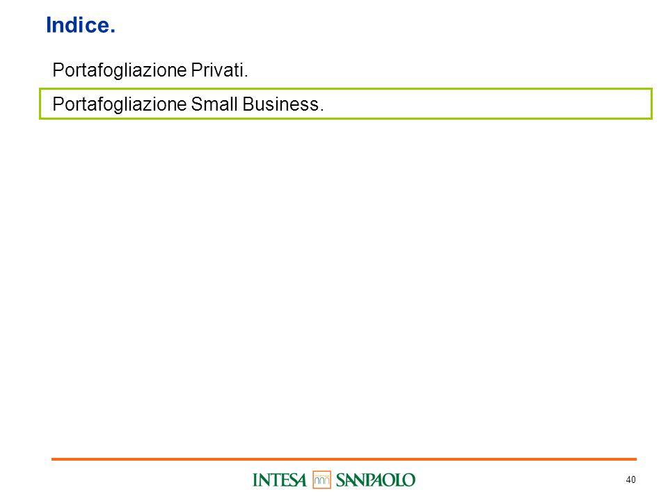 40 Indice. Portafogliazione Privati. Portafogliazione Small Business.