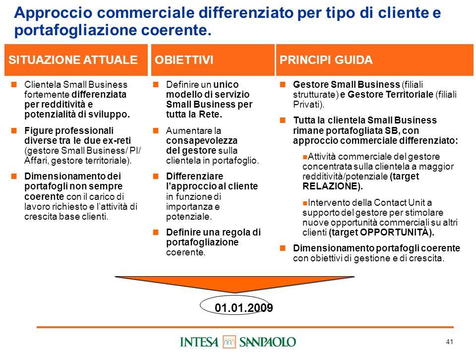 41 Approccio commerciale differenziato per tipo di cliente e portafogliazione coerente.