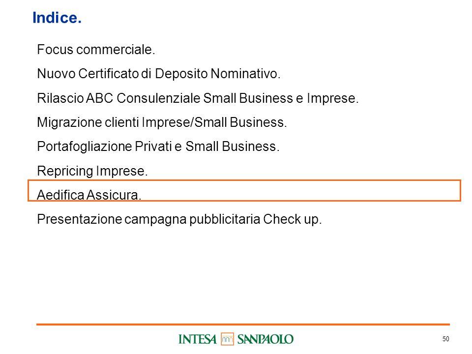 50 Indice. Focus commerciale. Nuovo Certificato di Deposito Nominativo.