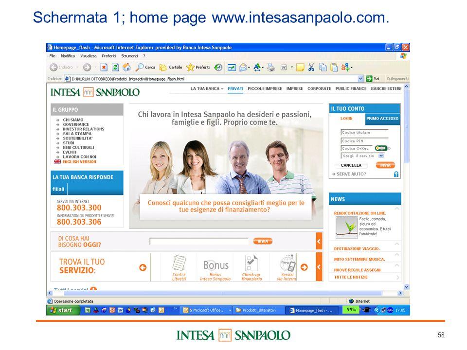 58 Schermata 1; home page www.intesasanpaolo.com.