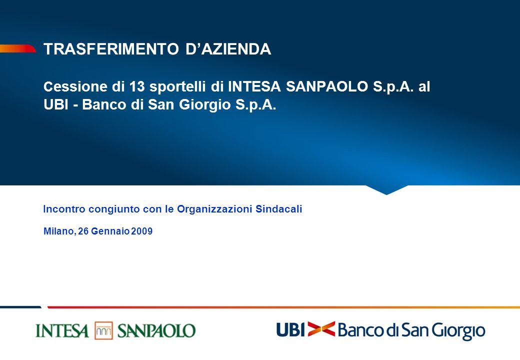 TRASFERIMENTO DAZIENDA C essione di 13 sportelli di INTESA SANPAOLO S.p.A. al UBI - Banco di San Giorgio S.p.A. Milano, 26 Gennaio 2009 Incontro congi