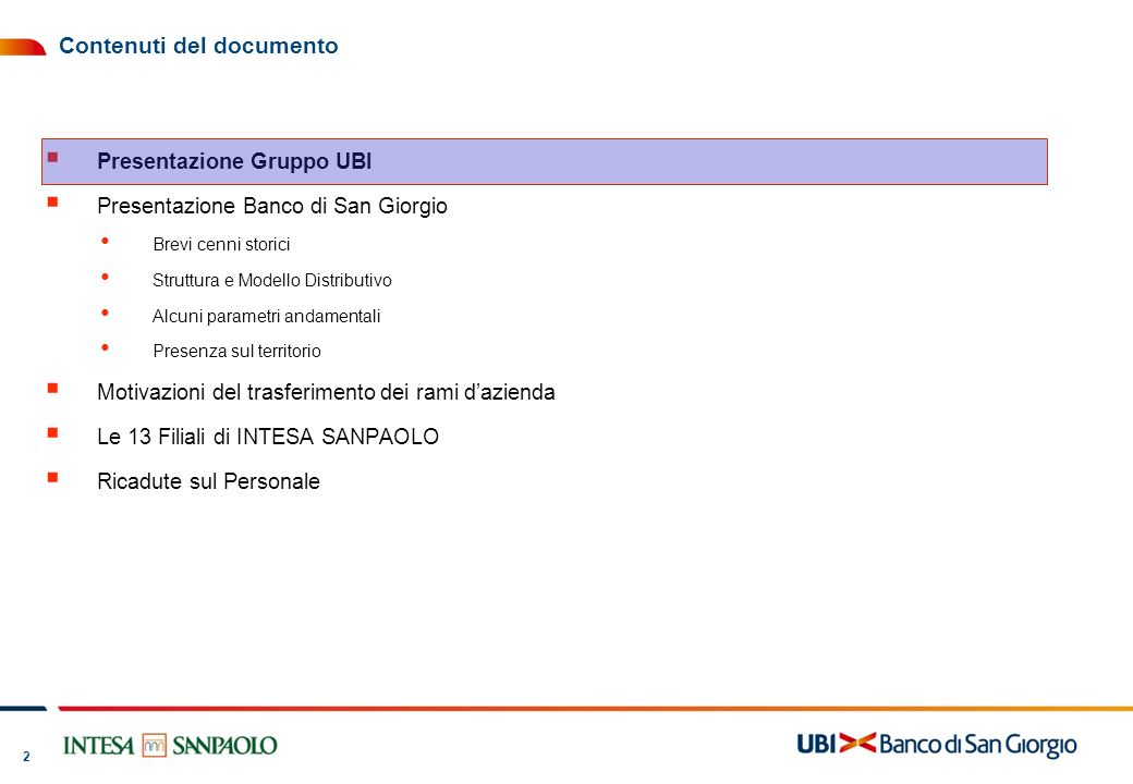 3 3 UBI Banca nasce il 1 aprile 2007 dalla fusione del Gruppo BPU con il Gruppo BLP 1888 Nascita di Banca San Paolo di Brescia (BSPB) 1883 Nascita di Credito Agrario Bresciano (CAB) 1963 BSPB Acquisisce Banca di Valle Camonica (BVC) 1992 Acquisizione di Banco di San Giorgio (BSG) da parte di CAB 1998 Fusione di CAB e BSPB e nascita di Banca Lombarda come capogruppo e conferimento delle filiali di CAB e BSPB a Banco di Brescia 2000 Acquisizione di Banca Regionale Europea* da parte di Banca Lombarda.