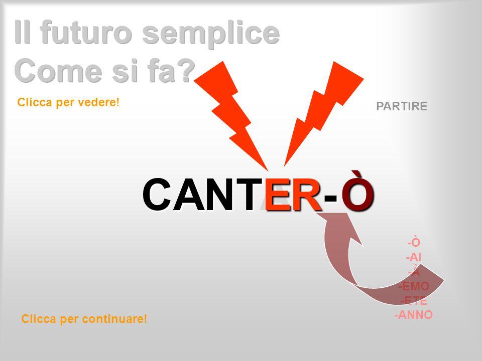 CANTR- CANTAR- E Clicca per vedere! Clicca per continuare! PARTIRE -Ò -AI -À -EMO -ETE -ANNO Ò