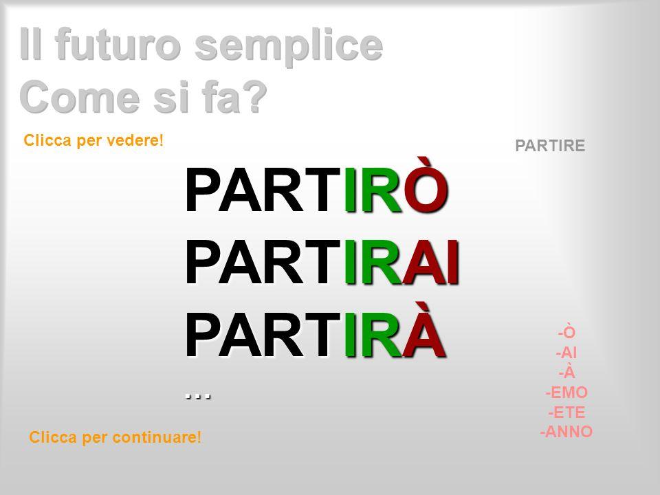 Clicca per vedere! Clicca per continuare! PARTIRE -Ò -AI -À -EMO -ETE -ANNO PARTIRÒ PARTIRAI PARTIRÀ …